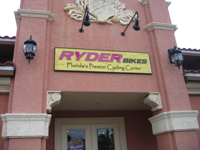 Sandblasted Wall Sign for Ryder Bikes. CLICK HERE to return to main portfolio page.