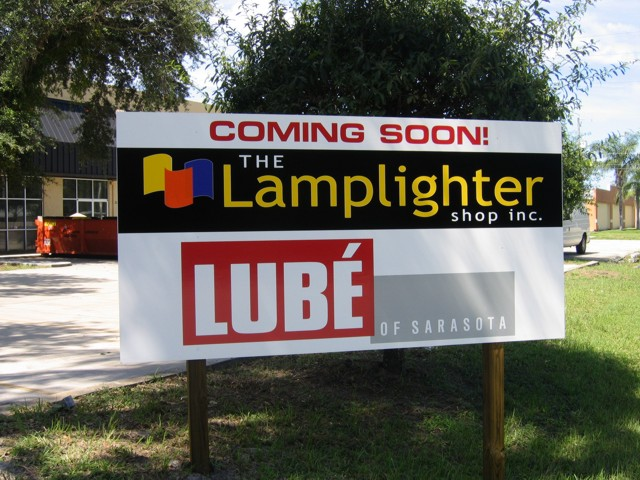 Construction Site Sign for Lamplighter Shop and Lube of Saraosta. CLICK HERE to return to main portfolio page.