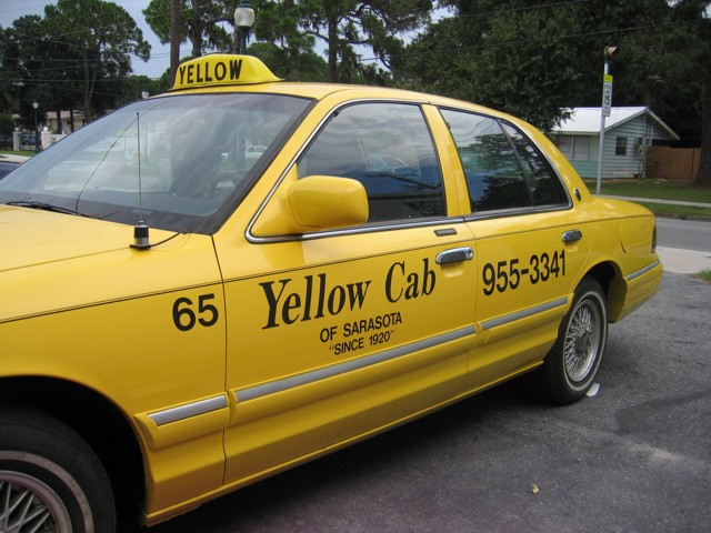 Vehicle Lettering for Yellow Cab of Sarasota. CLICK HERE to return to main portfolio page.