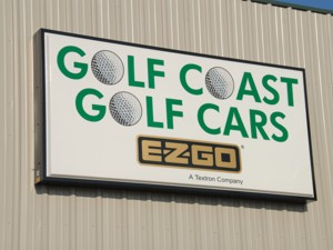 Illuminated cabinet sign for Golf Coast Golf Cars. To see more illuminated cabinet signs like this, CLICK HERE to view the illuminated cabinet sign section of our Portfolio page.