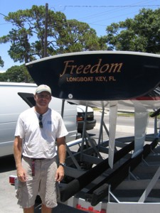 Recreational vehicle lettering for 'Freedom' of Longboat Key, FL. To see more recreational vehicle lettering & graphics like this, CLICK HERE to view the recreational vehicle lettering & graphics section of our Portfolio page.