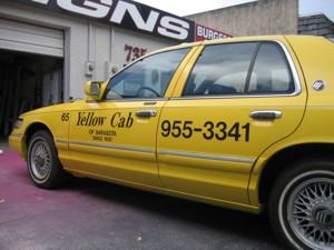 Vehicle lettering for Yellow Cab of Sarasota. To see more vehicle / fleet lettering & graphics like this, CLICK HERE to view the vehicle / fleet lettering & graphics section of our Portfolio page.