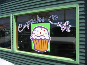 Window vinyl lettering & graphics for Cupcake Cafe. To see more window & door lettering & graphics like this, CLICK HERE to view the window & door lettering & graphics section of our Portfolio page.
