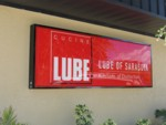 Illuminated Cabinet Sign for Lube of Sarasota. CLICK HERE to see this photo full size.