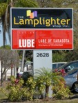 Pylon Sign for The Lamplighter Shop Inc & Lube of Sarasota. CLICK HERE to see this photo full size.
