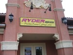 Sandblasted Wall Sign for Ryder Bikes. CLICK HERE to see this photo full size.
